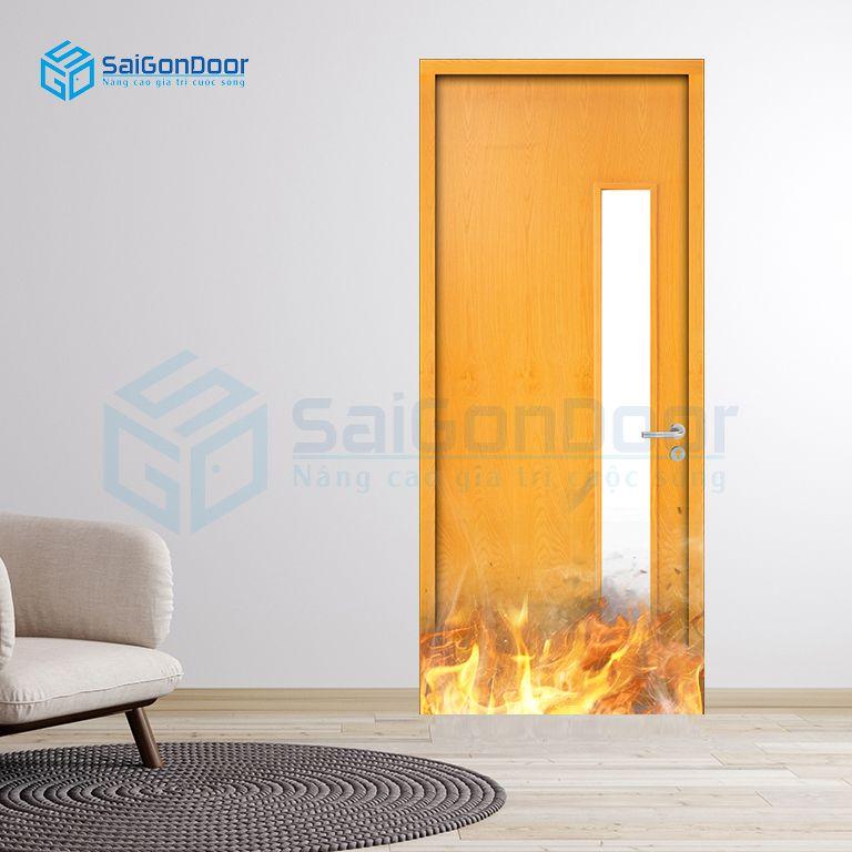 Cửa gỗ chống cháy MDF Veneer cao cấp cách âm